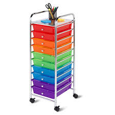 rolling 10 drawer office organizer color tray closet storage bin tower rack cart