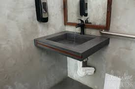 concrete sink custom floating concrete sink with wood inlays wok restaurant fort fl concrete ramp sink concrete sink