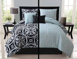 5pc Luxury Kennedy Black / White / Teal Reversible Comforter Set ... & 5pc Luxury Kennedy Black / White / Teal Reversible Comforter Set Bedding Adamdwight.com