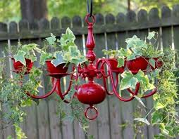 40+ Creative DIY Garden Containers and Planters from Recycled Materials -->  DIY Chandelier