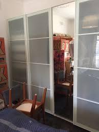 1 of 10 5 unit ikea pax wardrobe with sekken frosted glass sliding doorirror door