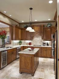 kitchen floor tiles small space: kitchen cool classic small kitchen design idea with sturdy wooden kitchen island and marble countertop also soft brown floor and backsplash tiles stunning