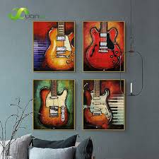 4 panel abstract guitar canvas prints wall art oil painting music instrument art painting wall decor on guitar canvas wall art red with 4 panel abstract guitar canvas prints wall art oil painting music