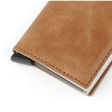 men 39 s genuine leather push card wallet