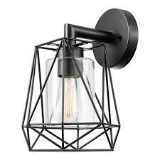 Sansa 5 Light Chandelier Globe Electric 44300 Sansa 1 Light Outdoor Indoor Wall Sconce Black Clear Glass Inner Shade