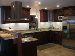 Dark Mahogany Kitchen Cabinets Granite On Light Cabinets Inspiring Home Design