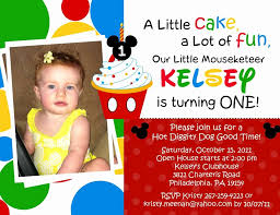 gallery of 1st birthday invitation wording mickey mouse