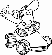 Donkey Kong Coloring Pages Free Mario Kart To Print Printable