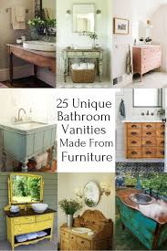 Image unique bathroom Bathroom Design 25 Unique Bathroom Vanities Made From Furniture Farmhouse Upcycled Furniture Furniture Makeovers Stevenwardhaircom 25 Unique Bathroom Vanities Made From Furniture Life On Kaydeross