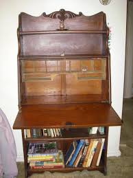 larkin antique 1900 s drop front tiger oak secretary desk side by bookcases antique