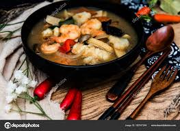 Chinese food mix seafood soup pot ...