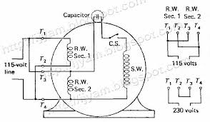 electrical control circuit schematic diagram of capacitor start dual voltage non reversible capacitor start motor