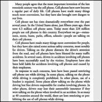 cell phones have some benefits but they increase car accidents  reading passage