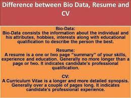 क य आप ज नत ह Bio Data Resume और Cv म