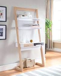ladder bookshelf desk leaning shelf bookcase with computer in decorations 12