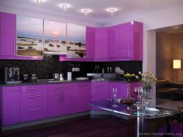 #Kitchen Idea of the Day: WOW purple cabinets with photo-printed cabinets  above