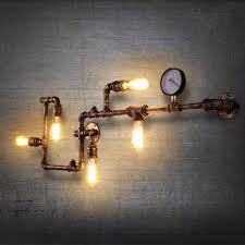 2018 loft vintage water pipe wall lamp 5 lights bar restaurant iron industrial style edison bulbs retro wall sconce lamp with meter from xiongge5465