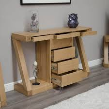 hallway console table. Z Shape Solid Oak Large Hall/ Console Table With Drawers | Furniture UK Hallway A