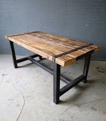 dining tables reclaimed industrial chic meval seater solid wood and rustic metal and wood dining
