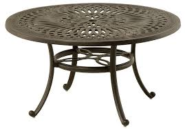 mayfair by hanamint luxury cast aluminum 54 round dining table w inlaid lazy susan