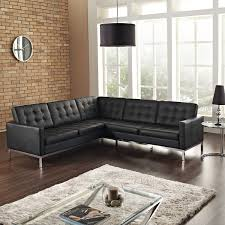 Living Room Furniture Pieces Pretty Black Semi Leather Sectional L Shaped Couch 2 Pieces With