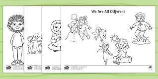 These free, printable preschool coloring pages are fun for kids. Free We Are All Different Colouring Pages Teacher Made
