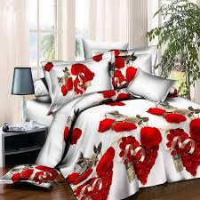 new style white red flower 3d bedding set of duvet cover bed sheet pillowcase bed clothes