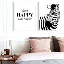 black white happy quote wall art posters and prints canvas painting wall pictures pictures concept