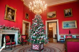 Christmas decorations in the White House Red Room