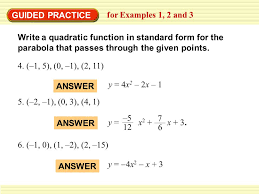 guided practice for examples 1 2 and 3 write a quadratic function in standard