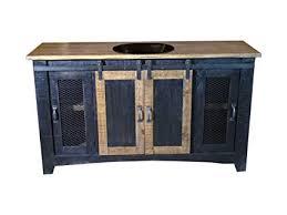 burleson home furnishings 60 inch distressed black farmhouse sliding barn door single sink bathroom vanity fully