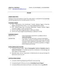 Msc Biochemistry Resume Format