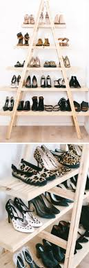 ... DIY Ladder Shoe Shelf | 22 DIY Shoe Storage Ideas Dollar Stores