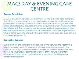 Business Plan Macs Day Evening Care Centre Macs Day