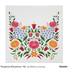 Hungarian Folk Embroidery Designs Hungarian Folk Pattern Kalocsa Embroidery Flower Poster