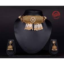 Designer Chick Advika Golden Designer Pearls And Kundan Chick Set J13