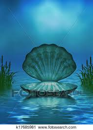 Ocean Background With Seashell And Cattails Clip Art