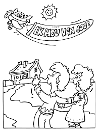 Kleurplaat Vliegtuig Met Tekst Ik Hou Van Jou Kleurplatennl