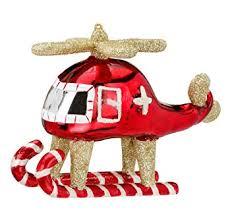 Christbaumschmuck Figuren Hubschrauber Gold Rot 105cm