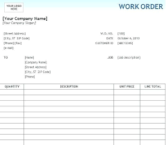 Maintenance Work Order Form Interesting It Work Order Template Free Printable Work Order Template Request