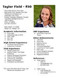 Taylor Field Soccer Resume
