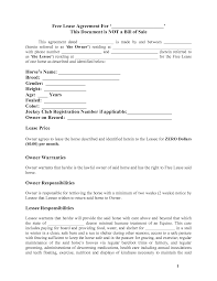 Equine Bill Of Sales Horse Template Printable Free Basic Lease Agreement Country