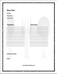 Recipe Journal Template Printable Recipe Journal Book With Recipe Templates Food
