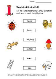 Words Starting With L Worksheets For Kindergarten