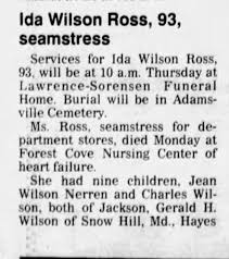 Ida Higgins Wilson Ross Obit - Newspapers.com