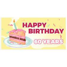 Yellow And Pink Birthday Cake 60th Birthday Banner Walmartcom