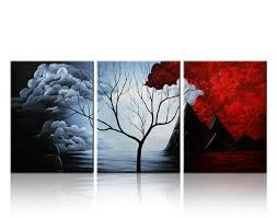 Santin Art- Modern Abstract Painting the Cloud Tree High Q. Wall Decor  Landscape Paintings on Canvas 12x16inch 3pcs Stretched and Framed Ready to  Hang ...