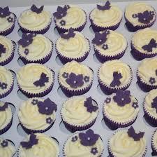 Purple Flowers Butterflies Wedding Cupcakes