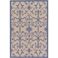 outdoor botanical beige and blue 5 3 x 8 rug