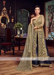 Front Open Salwar Designs Designer Net Semi Stitched Salwar Suit
